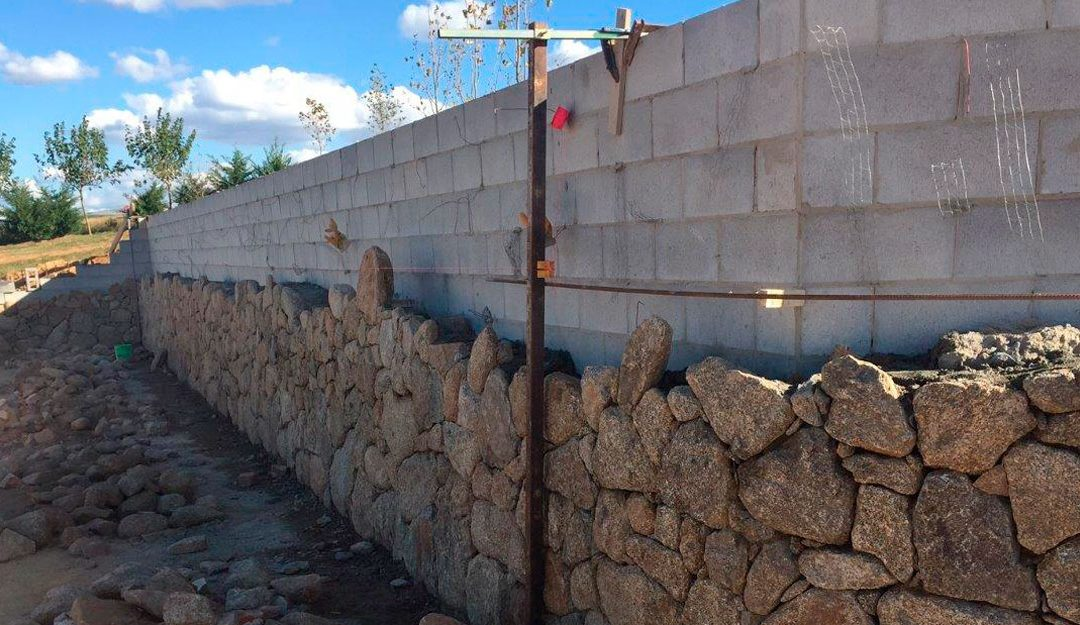 Grey Block Retaining Wall