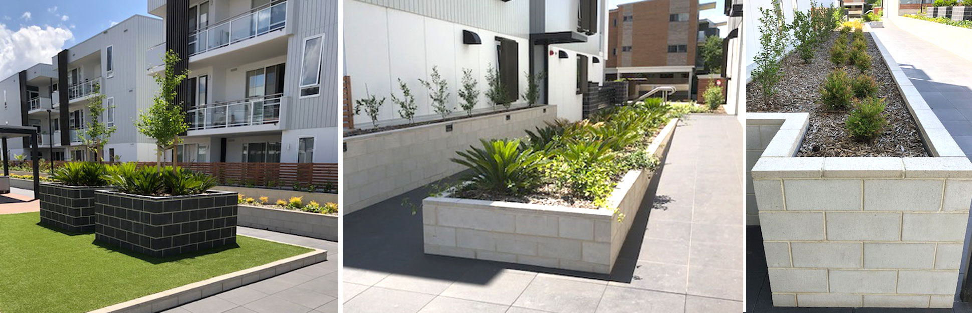 Idalia Apartments Woden ACT concrete block planters