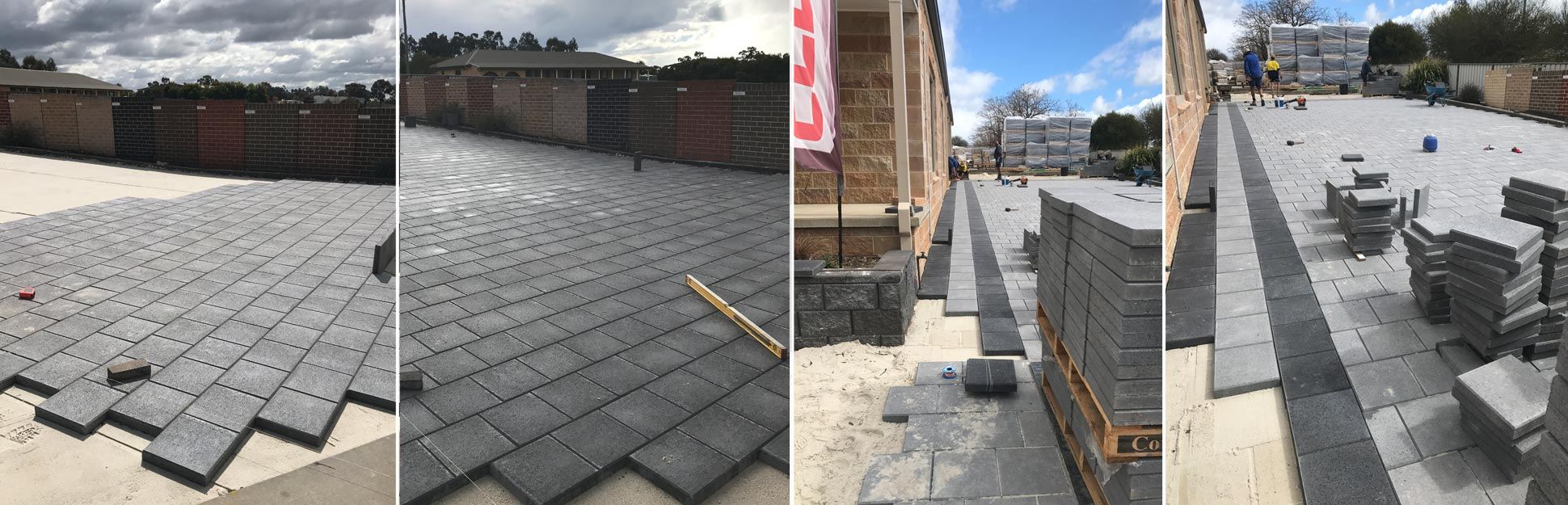 laying paving at the Cowra Concrete Products head office and display room